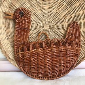 Boho Duck Wicker Wall Basket
